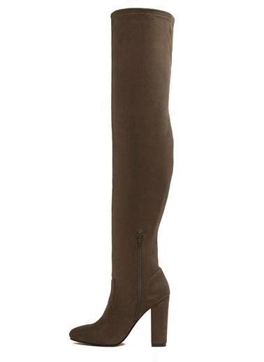 Aldo Kalın Topuklu Diz Üstü Çorap Çizme Ayakkabı Haki